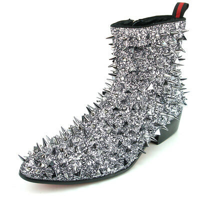 FI-7142 Black Leather Silver Spikes Fiesso by Aurelio Garcia Boot W Side Zipper