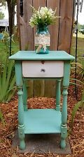 Accent side end table nightstand distressed aqua chic shabby vintage cottage