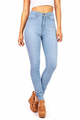 NEW Vintage High Waist Fitted Womens Skinny Jeans Vibrant Light Denim Pants USA