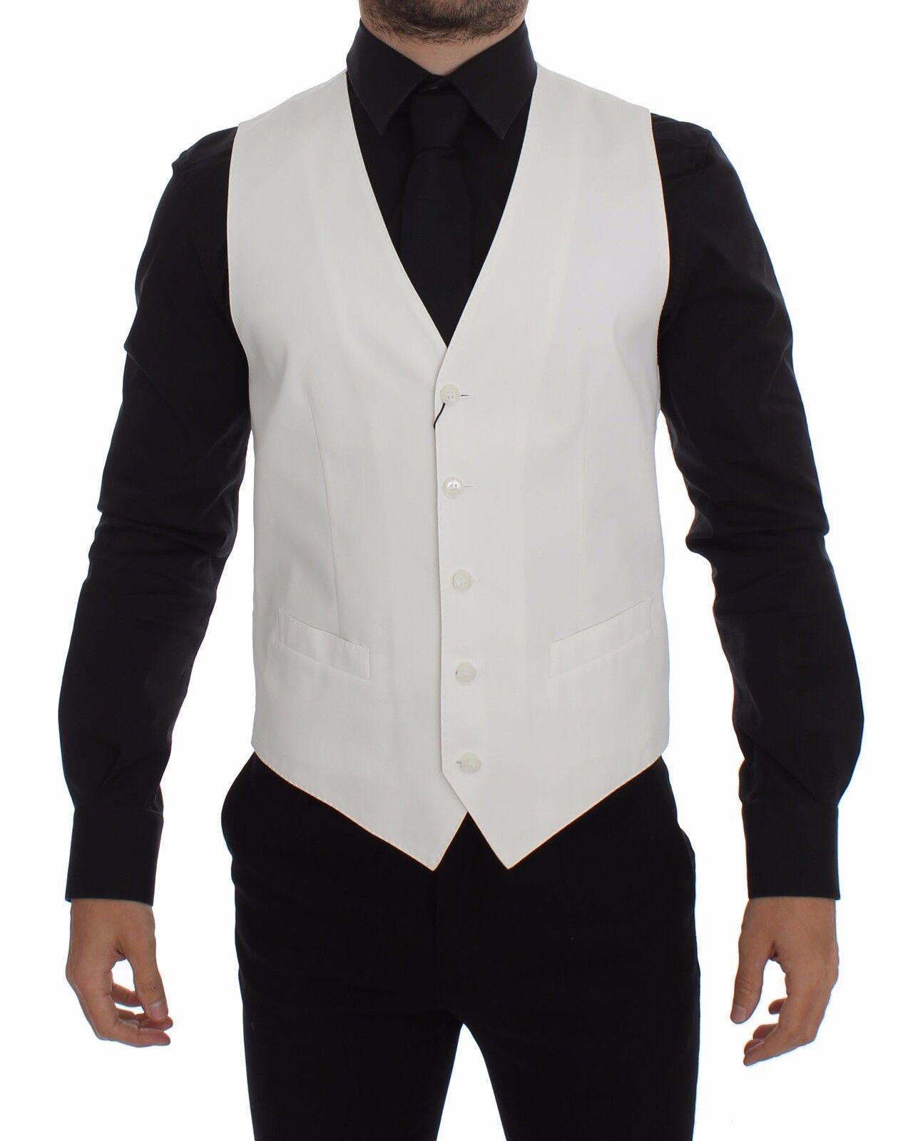 Nuevo Dolce & Gabbana Algodón Blanco Mezcla de Seda Chaleco Vestido Chaqueta