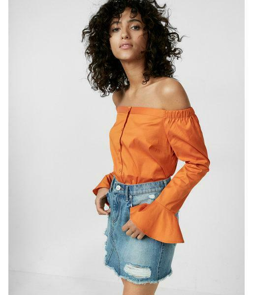 EXPRESS orange BELL SLEEVE OFF THE SHOULDER SHIRT NWT SIZE XS