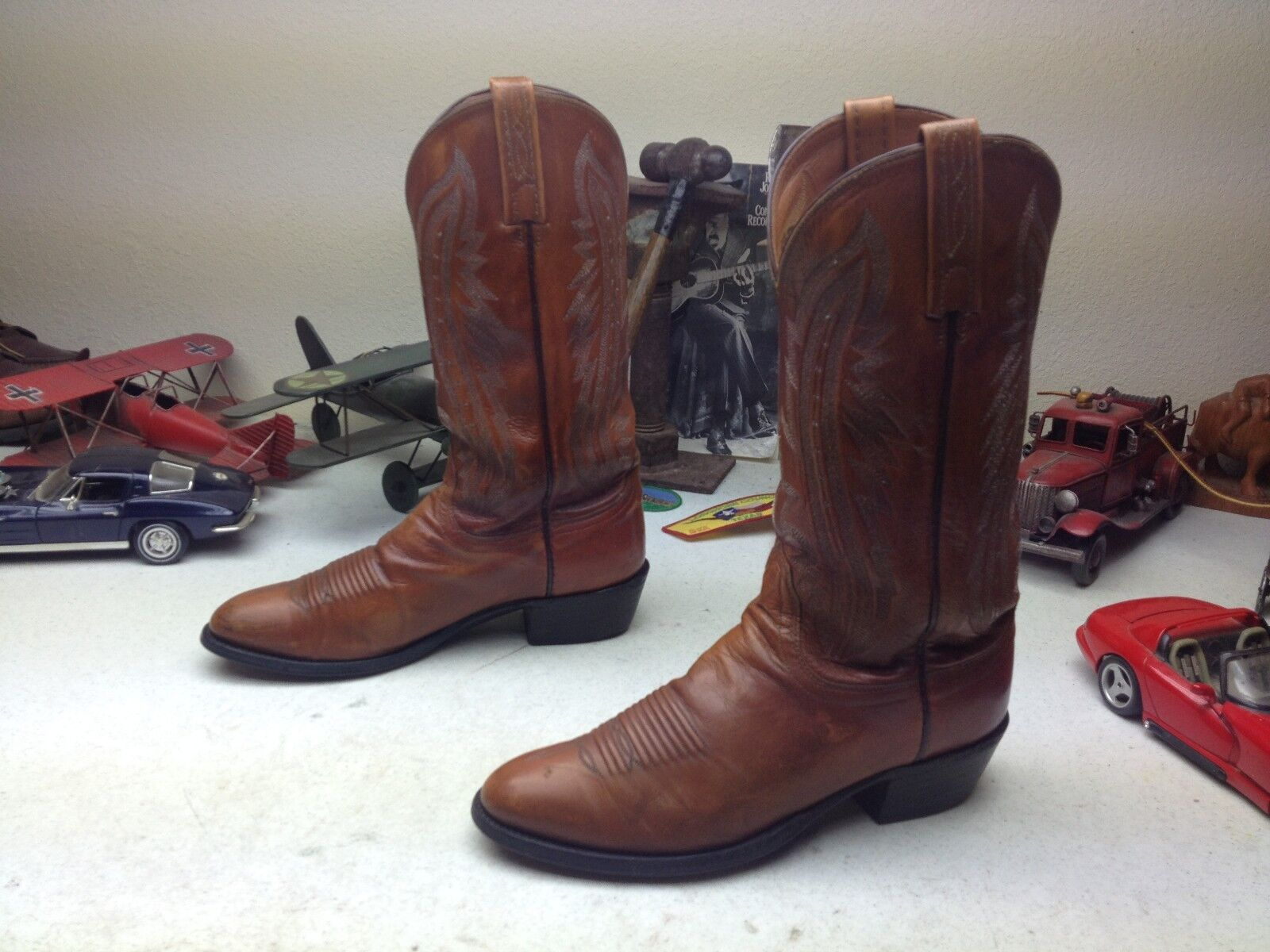 DISTRESSED LUCCHESE BROWN LEATHER WESTERN COWBOY TRAIL BOSS COWBOY BOOTS 8 D