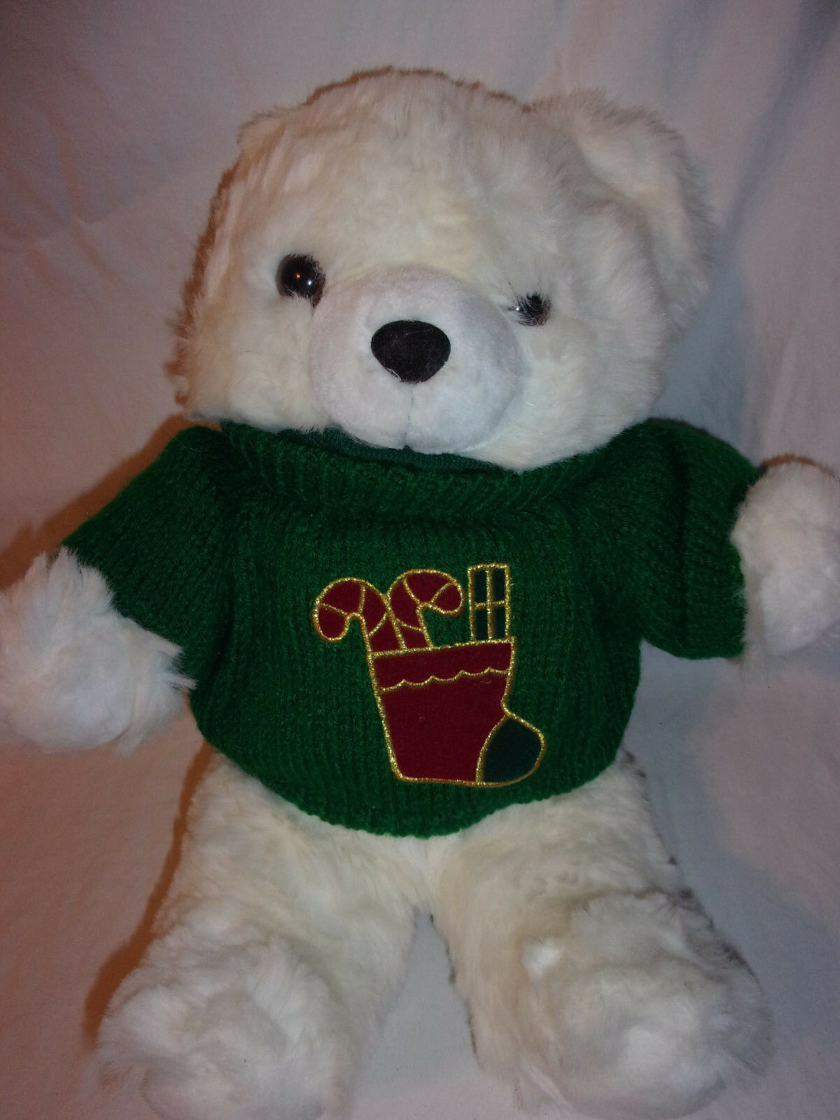 1997 Main Joy Holiday White Teddy Bear 19  Plush Soft Toy Stuffed Animal