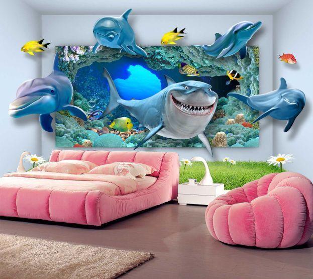 3D Der Hai Ozean Der Welt2 Fototapeten Wandbild Fototapete BildTapete Familie DE