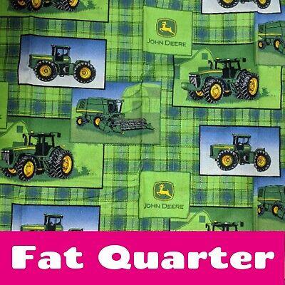 FAT QUARTER MADRAS PLAID JOHN DEERE FABRIC TRACTOR BANDANNA SPRINGS CREATIVE  FQ
