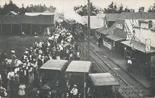 Long Beach WA * Train in Town 1910 * Post Card & Ice Cream Shop  RR Pacific Co.