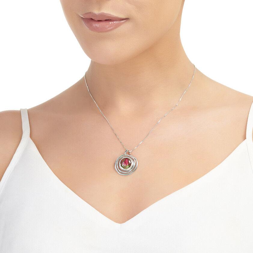 Un gran BACCANO viola argentoo Collana e ciondolo ciondolo ciondolo rosa V. - Piccola spirale 743ea9