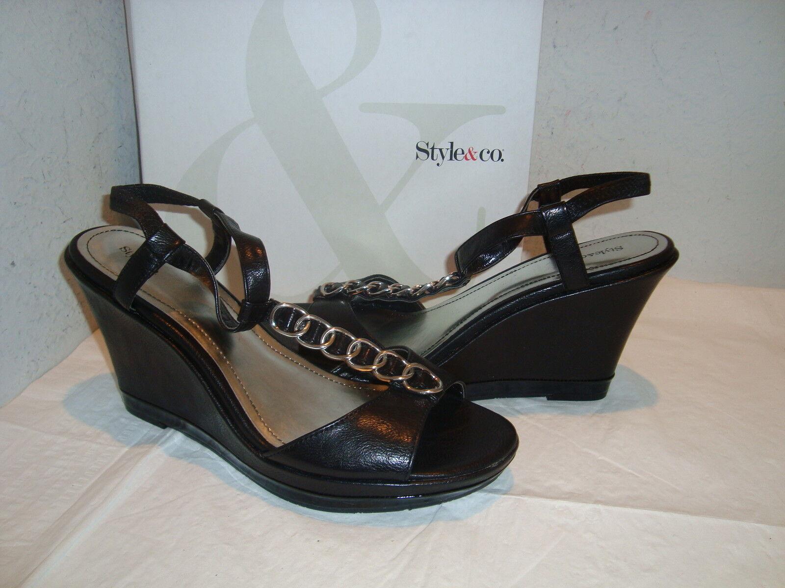 New Cuña Style & Co mujer Lew Negro Cuña New Sandalias Zapatos 9.5 medio e53563