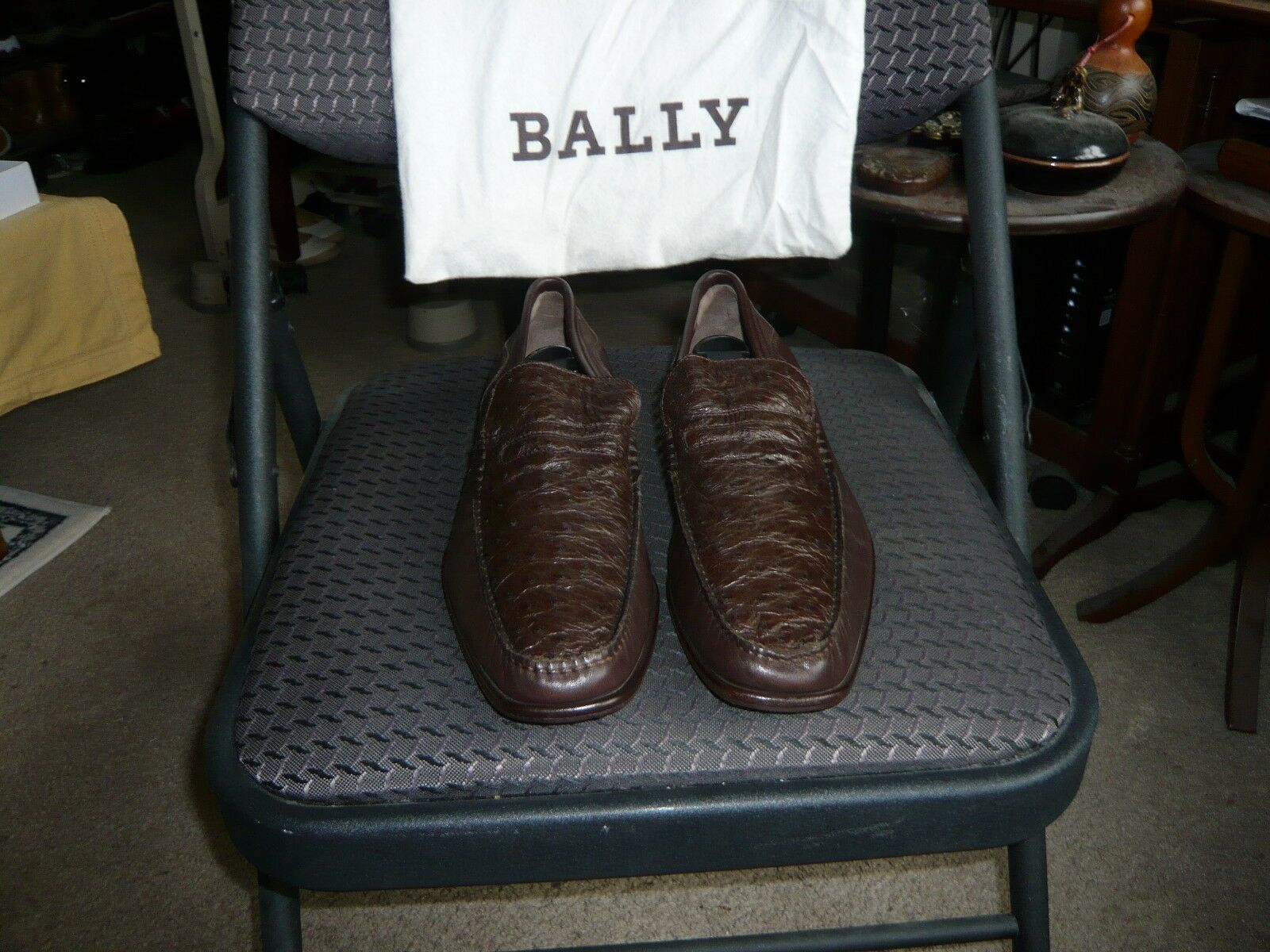 Bally of Switzerland Brown Ostrich & Nappa Leather shoes, Size EU 7 E, US 8 D