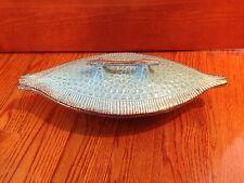 """CALIFORNIA ORIGINALS - LEAF Dish -- Aqua / Turquoise & Gold --Vintage 15"""" x 6"""""""