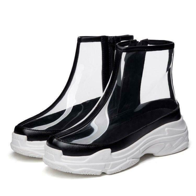 Women's Sneakers Clear Side Zip Platform shoes Transparency Transparency Transparency Casual Ankle Boots c6be4a