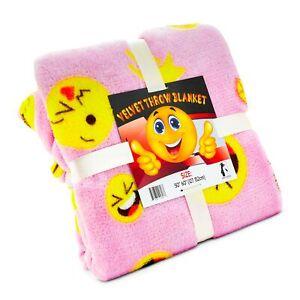 Pink Emoji Throw Blanket, Adorable Soft Large Fluffy Lightweight Emoticon Bla...