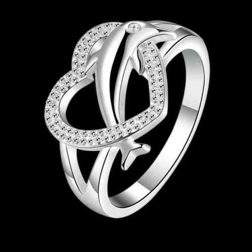 femmes engagement argenté en forme de cœur dauphin des bijoux bagues de mariage