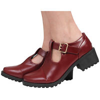 WOMENS LADIES MARY JANE T-BAR BUCKLES BLOCK MID HEEL COURT SHOES SIZE 3-8