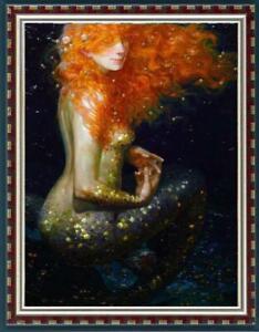 Hand-painted-Original-Oil-painting-Portrait-art-Mermaid-nude-girl-on-Canvas