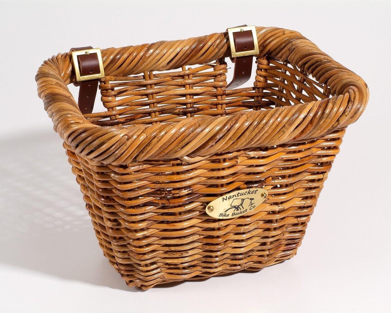 Nantucket Bike Basket Rectángulo de Cisco (Rattan, correas de cuero, adulto)