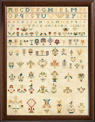 Cross Stitch Sampler Amish 19th Century Reproduction Counted Chart PDF /& Print