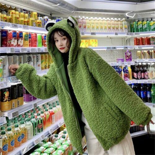 Girl Hooded Fleece Coat Jacket Faux Fur Zipper Pocket Loose Thick Warm Cute