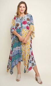 d6794e0a230d3f New Umgee Plus Size Boho Romantic Floral Bell Sleeves Rayon Midi ...