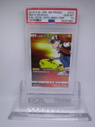 PSA 10 GEM MINT Red/'s Pikachu Promo 2018 Pokemon Card 270//SM-P               M28