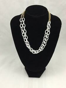 WHITE-LARGE-CHAIN-LINK-NECKLACE-W-GOLD-CHAIN-IN-BACK-DOUBLE-NECKLACE-16-INCHES