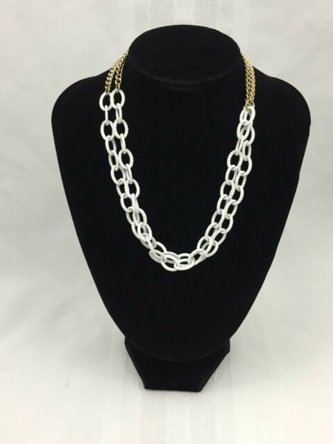 WHITE LARGE CHAIN LINK NECKLACE W/ GOLD CHAIN IN BACK-DOUBLE NECKLACE-16 INCHES