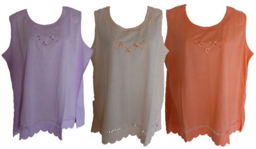 M L XL 2XL Damen T-Shirt Shirt Kurzarm mit Stickerei apricot lila koralle Gr