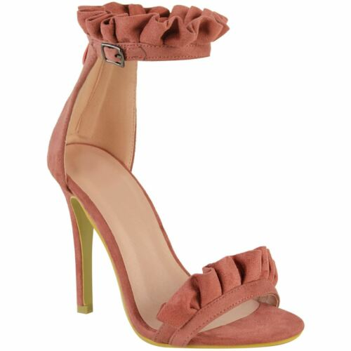 NEW WOMENS LADIES HIGH HEEL BARELY THERE RUFFLE FRILL PARTY SANDALS SHOES SIZE