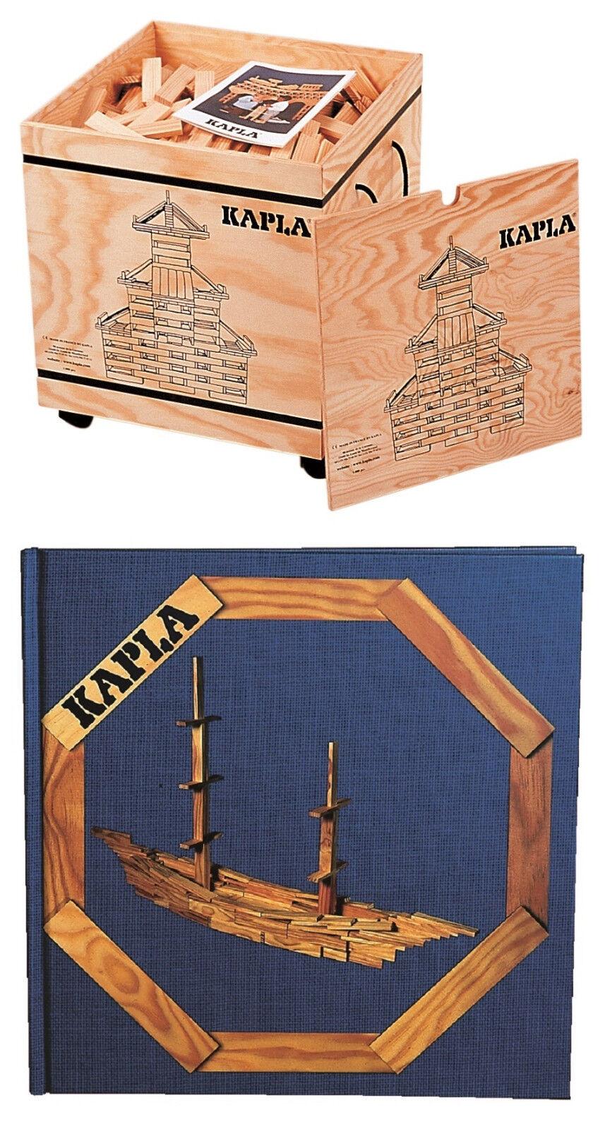 KAPLA 1000er Box Holzbausteine mit Kunstbuch Nr. 2 blau