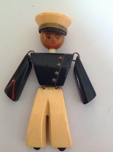Vintage Bakelite Figural Jointed Soldier Pin/Brooc