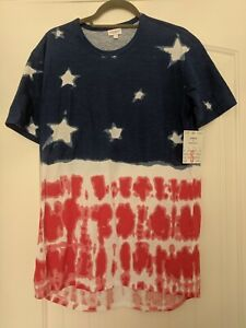 Small-LuLaRoe-Patrick-Tee-2019-All-American-Summer-Tie-Dye-Red-White-Blue-Stars