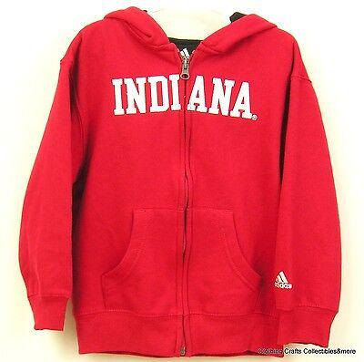 Childs Indiana Red Sweatshirt Size 7 Full Zip Hooded Hoodie Adidas NWOT