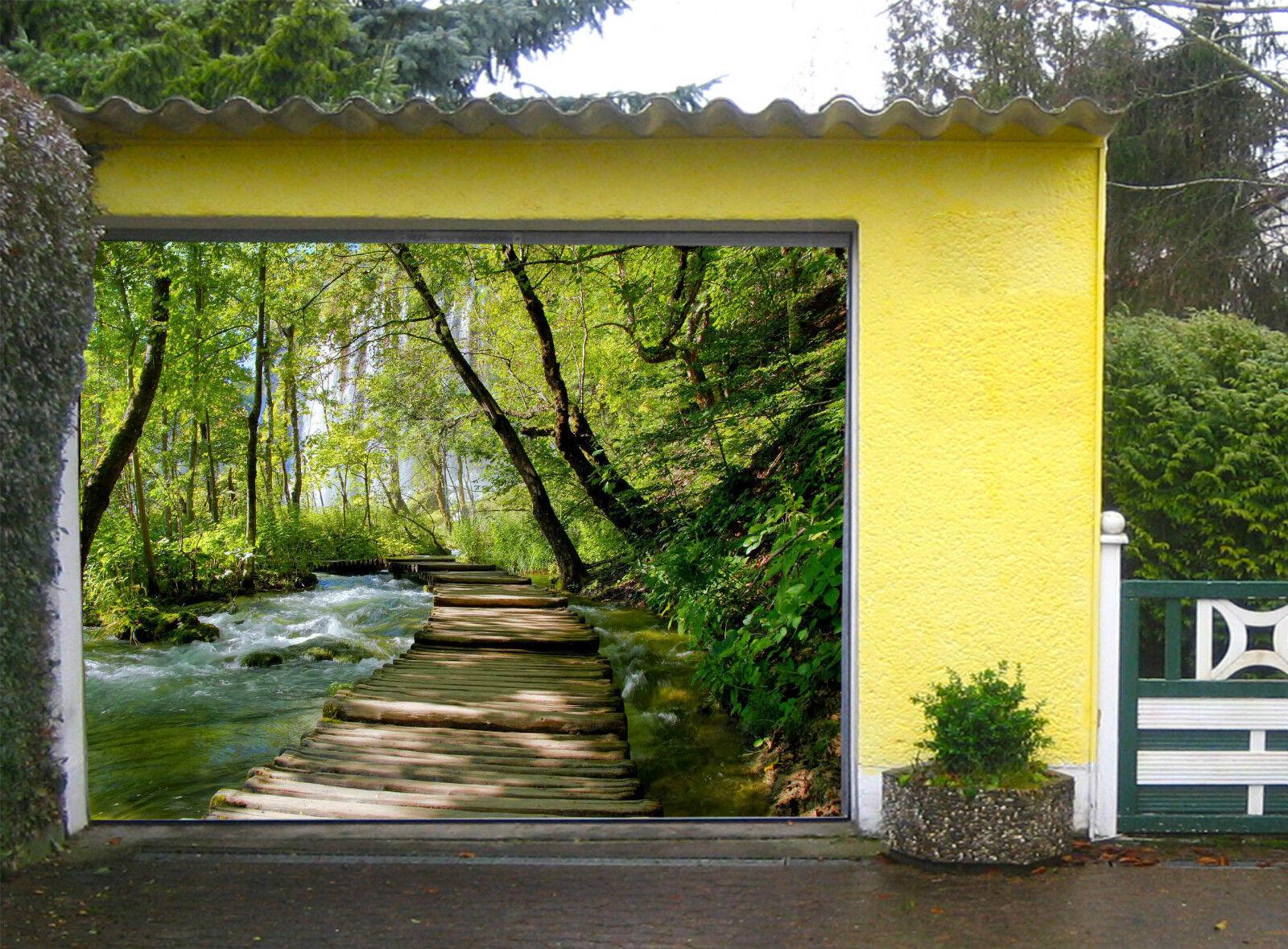 3D Ponte Foresta 6 Garage Porta Stampe Parete Decorazione Murale AJ WALLPAPER IT