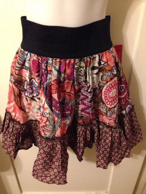 98d4cf2c74 New Rockabilly Boho Chic Xhilaration Stretch Waist Ruffled Hem Mini Skirt M