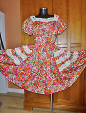 Vtg 50s 60s WESTERN Square Dance Full circle Skirt DRESS Floral Cotton Lace !