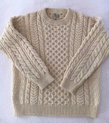 Vintage LL Bean Irish Fisherman Knit wool sweater Men's L Women's boyfriend perf