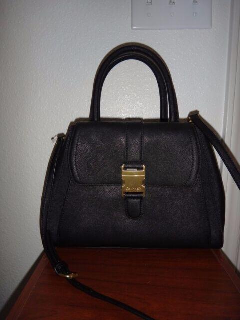 208677295e CALVIN KLEIN Women's Black Saffiano Leather Tote Satchel Purse Hand Shoulder  Bag