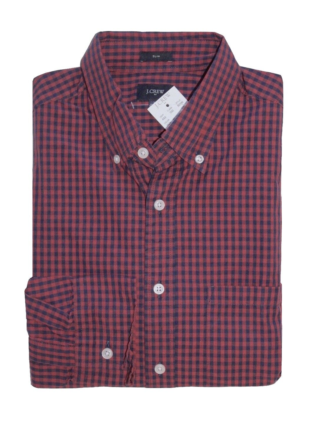 J Crew Factory - Mens S - Slim Fit - Red Navy Micro-Gingham Plaid Washed Shirt