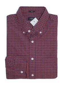 J-Crew-Factory-Men-039-s-L-Slim-Fit-Red-Navy-Micro-Gingham-Plaid-Washed-Shirt