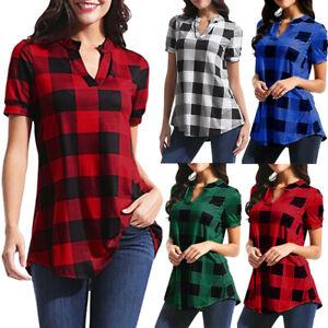 Women-Daily-Plaid-Printed-Short-Sleeve-V-Neck-Irregular-Hem-Blouse-T-Shirt-Tops