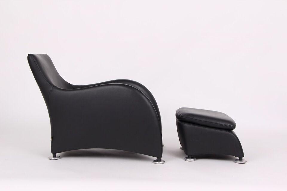 Montis Lounge chair & skammel. Sort læder. GRAT...