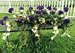 Details About Outdoor Window Box Silk Purple Geraniums White Azaleas Flowers 3 Ft Garden