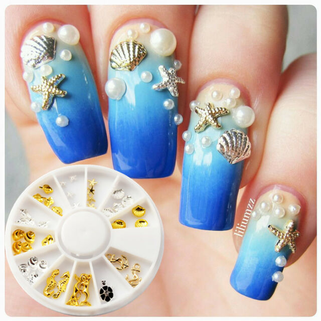 3d Hot Nail Art Studs Rhinestone Seashell Starfish Mermaid Tips