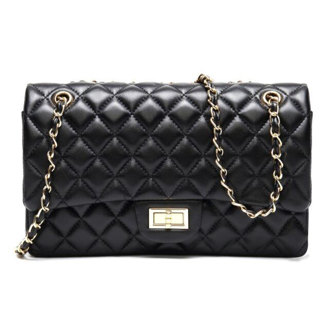 Genuine Sheepskin Quilted Chain Purse Hobo Shoulder Bag (Large 28cm,Black)