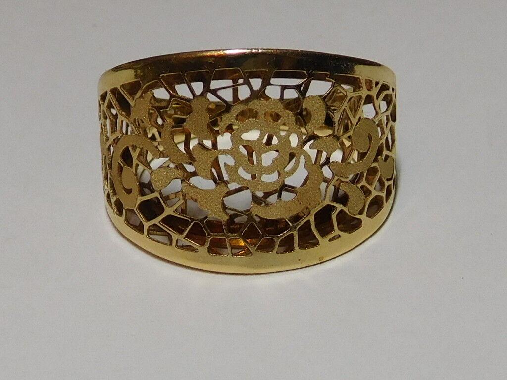 14kt Yellow gold Italian Size 7 3 4 Ornate Ring