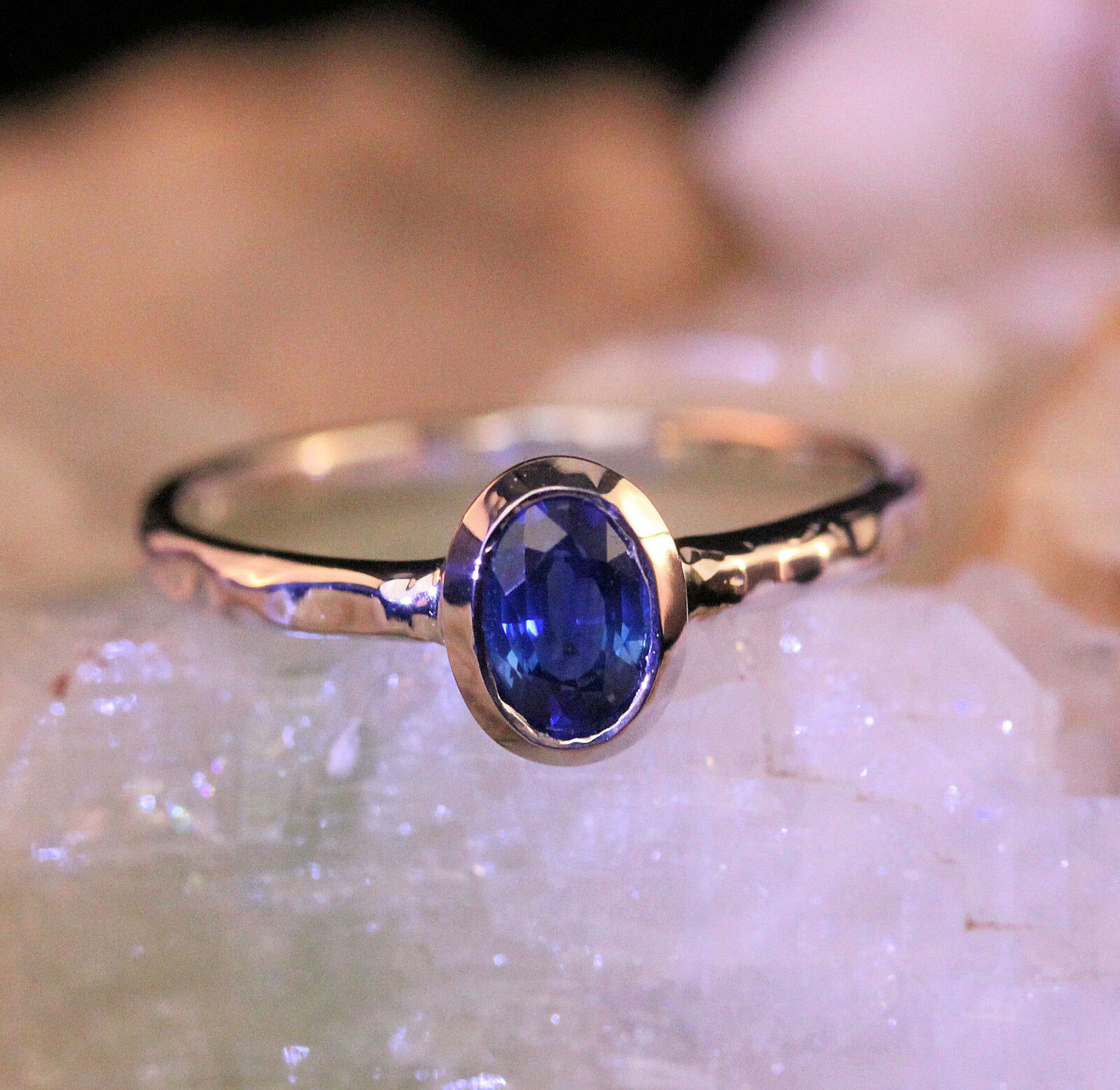 0.65 Ct 6x4 Oval bluee Sapphire Handmade Ring Hammered Finish in14k White gold