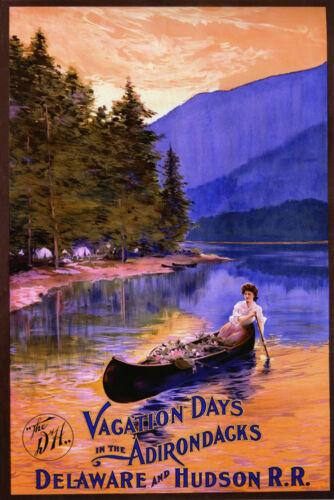 New York Adirondack Delaware Hudson Boat Travel Vintage Poster Repro FREE S//H