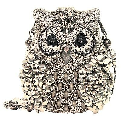 Mary Frances Wisdom Owl Silver Mercury Silver Bag Purse Handbag NEW Resort 2014