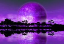 WALLPAPER MURAL PHOTO Rising Moon Alien Planet WALL DECOR PAPER Purple Art