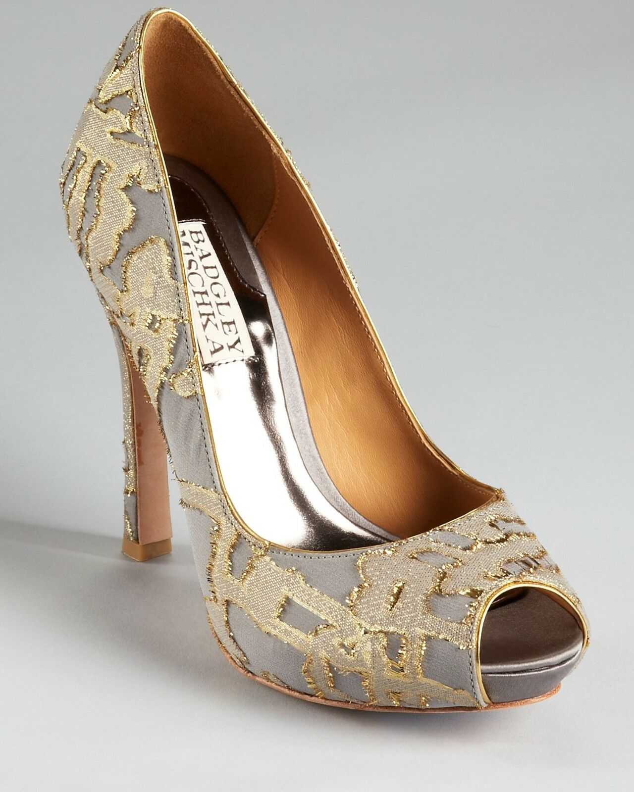 Badgley Mischka ROXIE evening open pump tapestry shoes Grey/gold shoes 6,5 NIB